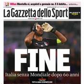 Revue de presse : «Apocalypse», «honte», «désastre», les médias italiens se déchaînent après l'élimination