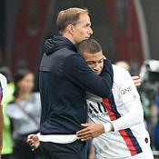 Thomas Tuchel et Kylian Mbappé après Nice-PSG (victoire 4-1)