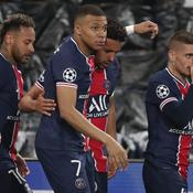 Neymar, Kylian Mbappé, Marquinhos et Marco Verratti (crédit : Panoramic)