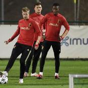Kevin de Bruyne à l'entraînement la veille du match contre le Danemark.