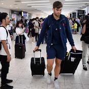 Damian Penaud à son arrivée à l'aéroport de Kumamoto