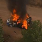 Un impressionnant incendie ravage la voiture de Lappi au Rallye du Mexique