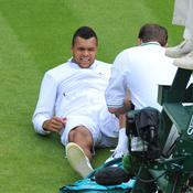 Jo-Wilfried Tsonga lors de son dernier match à Wimbledon
