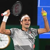 Roger Federer laisse éclater sa joie après sa magnifique victoire