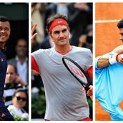 Jo-Wilfried Tsonga, Roger Federer et Novak Djokovic
