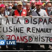 Manifestation à l'usine Renault de Choisy-le-Roi contre le plan d'économies