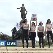 Paris: des militantes Peta seins nus pour dénoncer la souffrance des vaches laitières