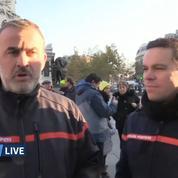 Pompiers : au coeur du campement des pompiers, place de la République