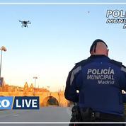 Coronavirus: à Madrid, des drones demandent aux passants de rester chez eux