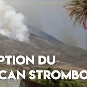 Italie : éruption du volcan Stromboli au large de la Sicile