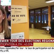 Élections régionales : taux de participation de 43,01% à 17h