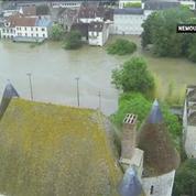 L'ampleur de la crue à Nemours, vue depuis un drone