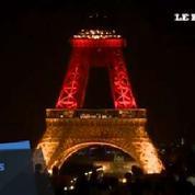 La tour Eiffel aux couleurs allemandes en hommages aux victimes de Munich