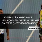 Usain Bolt et Andre De Grasse s'amusent en pleine demi-finale du 200 m