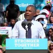 Obama takes stage in Philadelphia as Clinton recovers