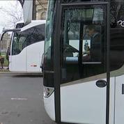 Manifestation des conducteurs d'autocars à Paris