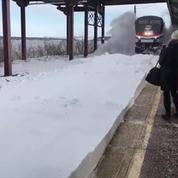 États-Unis : un train ensevelit des voyageurs sous la neige en rentrant en gare
