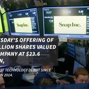 Snap shares soar in market debut