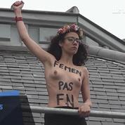 Election : des Femen déploient une banderole à Hénin-Beaumont
