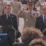 Hollande et Macron côte à côte lors des cérémonies de commémoration du 8 mai 1945