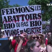 Manifestation pour la fermeture des abattoirs à Paris