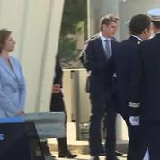 L'arrivée d'Emmanuel Macron à la base aérienne d'Istres