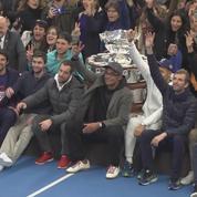 Coupe Davis : l'équipe de France célèbre sa victoire avec son public