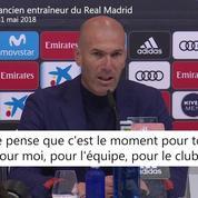 Zidane démissionne : «C'est le moment pour moi»