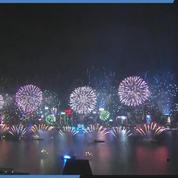 Les images du feu d'artifice de la nouvelle année de Hong Kong