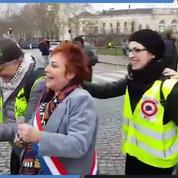 «Gilets jaunes» Acte XVI : la sénatrice Esther Benbassa fait la chenille avec les manifestants