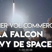 Les images du premier vol commercial de la Falcon Heavy de SpaceX
