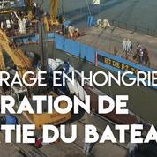 Naufrage sur le Danube : le bateau coulé sorti de l'eau par la police