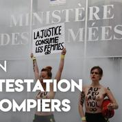 Des Femen devant le ministère des Armées pour dénoncer une décision de justice