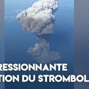 Impressionnante éruption du Stromboli au large de la Sicile