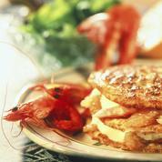 Crêpes au pamplemousse et aux crevettes