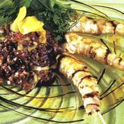 Brochette de gambas et salade de riz
