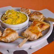 Brochettes de poulet à la crème safranée