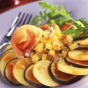 Rosace de pommes de terre aux figues et jambon