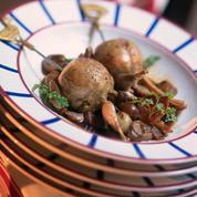 Cailles rôties farcies aux champignons