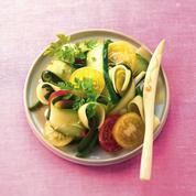 Salade de haricots, piment, courgettes et beaufort