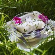 Salade de pommes de terre et cabillaud au géranium