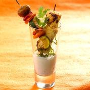 Miniduo de brochettes de poulet et légumes, marinade de yaourt épicée