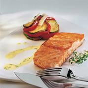 Dos de saumon rôti, beurre d'herbes et tian provençal