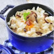 Cocotte de risotto aux cèpes et gelée de coings