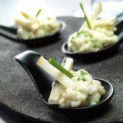 Petites cuillères de risotto aux poires et au bleu