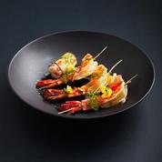 Gambas et sauce agrumes, roulés d'aubergines au risotto et à la tomate