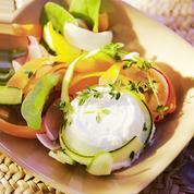 Légumes croquants et fromage frais