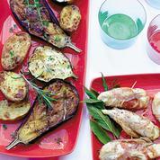 Légumes grillés et poulet à la pancetta