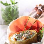 Éventail de jambon Consorcio Serrano, pommes de terre farcies à la noisette