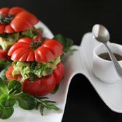 Mâche & saveur corsée tomates farcies, concombre et avocat